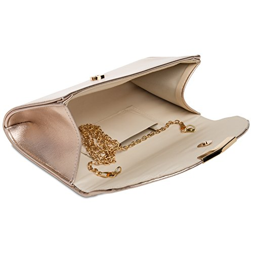 Long with Bag Detachable Clutch Evening Elegant Gold Rose TA360 Envelope Ladies CASPAR Chain qEwfBgx