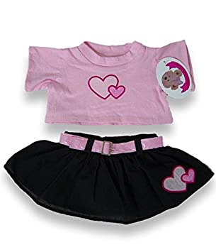 a217cc9559c Build Your Bears Wardrobe Teddy bear clothes fits build a bear teddies  double pink hearts skirt outfit (black pink)  Amazon.co.uk  Toys   Games