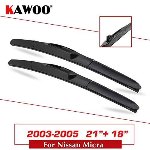 (Wipers Hukcus For Nissan Micra K11/Micra Car Natural Rubber Windshield Wipers Blades Model Year From 2000 To 2017 Fit U Hook Arm - (Color: Micra 2118))
