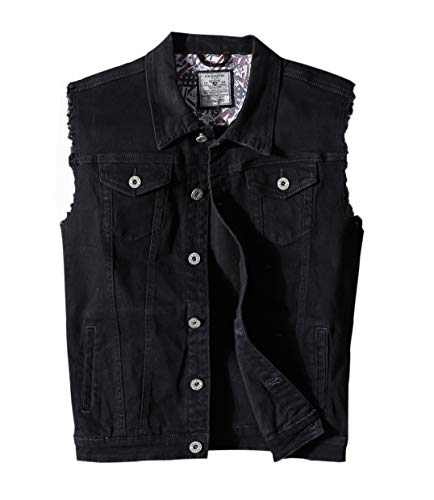 Denim Vest Jacket - Heihuohua Men's Casual Button-Down Denim Vest Trucker Jean Jacket (Large, Black)