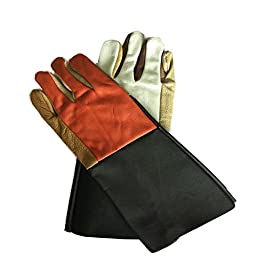 Bestwoo Long Leather Protected Gloves for Gardening Construction Welding