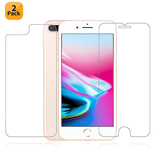 Maxdara iPhone 8 Plus Front and Back Tempered Glass Screen Protector, Ultra-thin Touch Accurate Anti-Scratch Screen Protector [Case Friendly][Lifetime Replacements] for iPhone 8 Plus 5.5 inch (2 ()