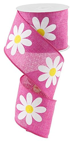 Daisy Flower Canvas Wired Edge Ribbon, 2.5