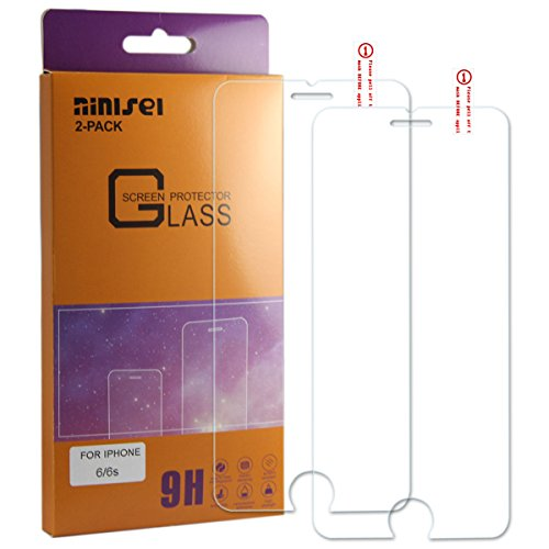 NINISEI IPhone 6/6s Cell Phone Toughened Glass Film Screen Protectors With 0.013 IN Ballistic,2.5D Arc Edge,Protection of Mobile Phone to Preventc Damage to The Screen, Anti Fingerprint.(2-Pack)