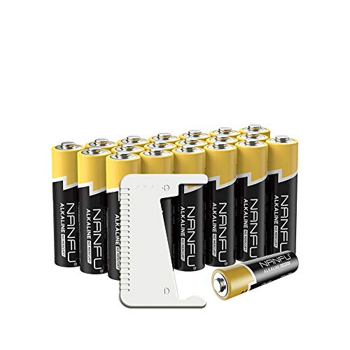NANFU No Leakage Long Lasting AA 20 Batteries Pack, A Battery Tester Included [Ultra Power] Premium LR 6 Alkaline Battery 1.5 V Non Rechargeable Batteries for Clocks Remotes Toys & Electronic Device .