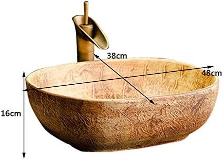 カウンター盆地洗面オーバルセラミック盆地アメリカの洗面アートヨーロッパの盆地上記 P3/18 (Size : B)