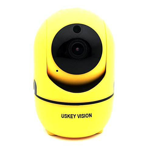 Pan/Tilt/Zoom Security Camera WiFi 1080P Home Baby Pet Camera AWS Cloud Storage Wireless Indoor Dome Camera w/Motion Tracker 2Way Audio Talk Night Vision Remote Monitor iOS Android APP (Yellow) by USKEYVISION
