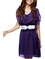 Allegra K Women Butterfly Sleeve Elastic Waist Belted Chiffon Short Dress