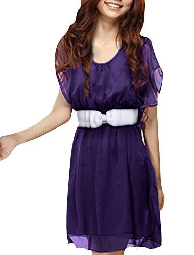 Allegra K Women Scoop Neck Elastic Waist Chiffon Dress Dark Purple, X-Small