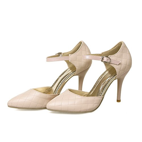 VogueZone009 Women's Pull-On PU Pointed Closed Toe Spikes-Stilettos Solid Pumps-Shoes Pink PVGbHx4VJ