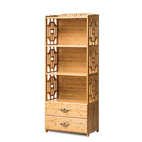 QiXian Shelves Organizer for Books Bookcase Bookshelf Ends Bookcase Bamboo Floor-Standing Drawer Combination Living Room Locker Study Kitchen Cupboard Strong Sturdy