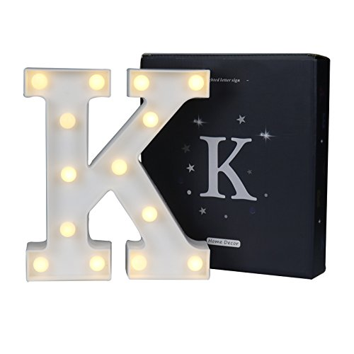 DELICORE LED Marquee Letter Lights Alphabet Light Up Sign for Wedding Home Party Bar Decoration K