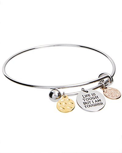 Jewelry Nexus Life is Tough But I Am Tougher Inspirational Adjustable Charm Bangle Bracelet