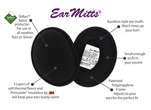 Fleece Ear Muffs For Men & Women, Bandless Winter Earmuffs By Ear Mitts, 2 Sizes