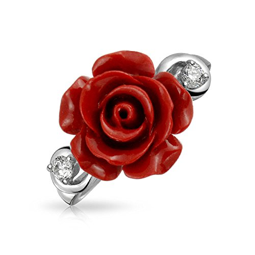 (CZ Accent Flower Fashion Red Craved Rose Statement Ring For Women For Teen 925 Sterling Silver)