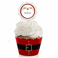 Jolly Santa Claus - Holiday or Christmas Party Cupcake Wrapper and Pick - Cupcake Decorating Kit - Set of 24