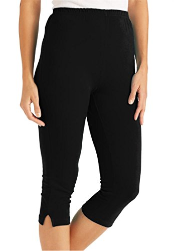 Women's Plus Size Leggings, Capri Length In Stretch Knit Bla
