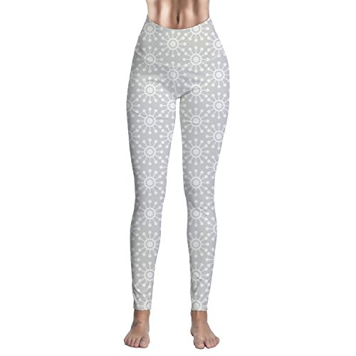 High Waist Yoga Extra Soft Running Capri Leggings Grey Sun Flower