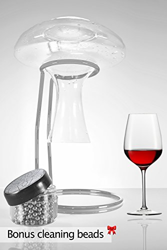Premium Wine Decanter Drying Stand | Bonus Decanter Cleaning Pallets| Rubber Coated, Scratch Proof Stainless Steel | Luxury Wine Gift