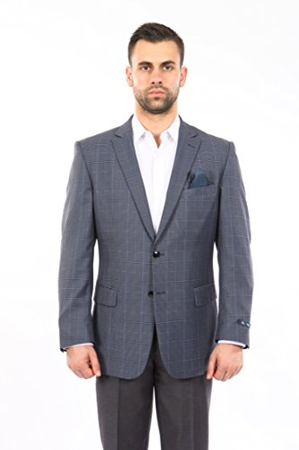 Glen Plaid Coat (TAZIO Mens Glen Plaid Notch Lapel Sports Coat Blazer Jacket)
