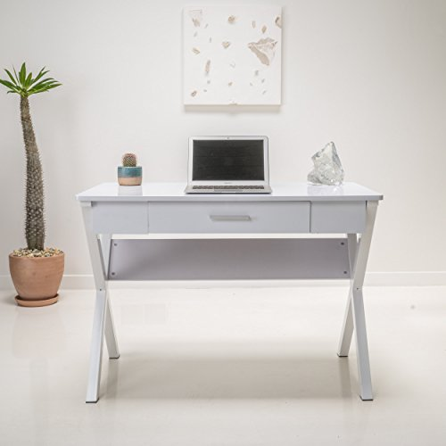 Contemporary Wood Writing Computer Desk with 1 Drawer in White Finish - Includes Modhaus Living Pen by ModHaus Living