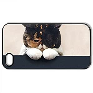 better days gonna come - Case Cover for iPhone 4 and 4s (Cats Series, Watercolor style, Black)