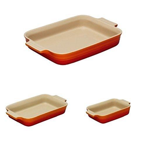 Le Creuset Stoneware Rectangular Dish Set -18, 26, 32 cm - Volcanic