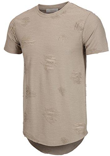 KLIEGOU Mens Hipster Hip Hop Ripped Round Hemline hole T Shirt(1705) (XX-Large, - Hipster Fashion