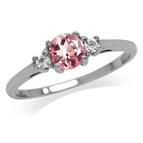 Petite Natural Pink Tourmaline & White Topaz Gold Plated 925 Sterling Silver Ring Size 6.5