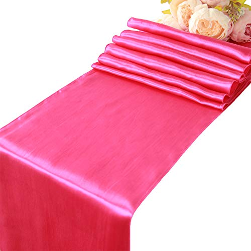 Hot Pink Satin Table Runners - 5 pcs Wedding Banquet Party Event Decoration Table Runners (Hot Pink, 5)