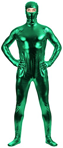 VSVO Adult Green Shiny Metallic Eyes Hole Zentai Supersuit Costume (XX-Large, Green) - Wolf Costume Eye Makeup