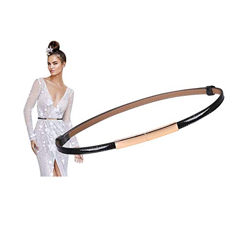 Women Black Thin Waist Belt Skinny Patent Leather Belts for Dresses With Gold Alloy Buckle Fashion dress belt