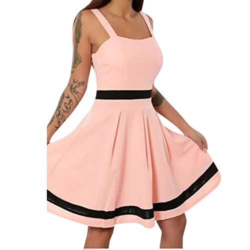 Women Sexy Sleeveless Solid Color Mini Casual Holiday Beach Casual Vintage Dress ()
