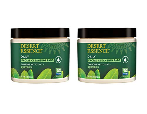 Desert Essence Natural Tea Tree Oil Facial Cleansing Pads - 50 Count - Pack of 2 - Face Cleanser - Soothes & Calms Skin - Makeup Remover Pads - Removes Oil & Dirt - Great for Travel - Essential Oils (Desert Essences Face Wash)