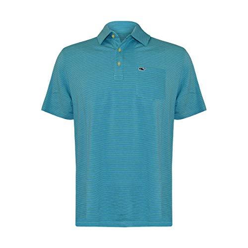 Vineyard Vines Men's Edgartown Short Sleeve Polo Shirt (Capri Blue Stripe, Medium)