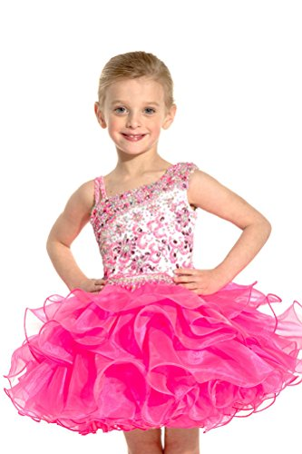 Y&C Girls' Baby Crystal Infant Mini Cupcake Gowns Princess Dresses 18M Hot Pink