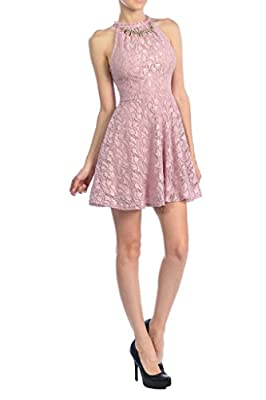 Auliné Collection Womens Halter Sleeveless Floral Lace Skater Dress