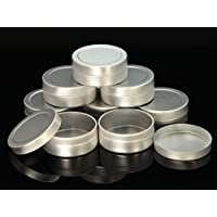WellieSTR 20 Pieces 10ml Aluminum Empty Container Jar Silver Tins for storage rings chains Trinkets Cream Cosmetic Pots Lip Balm