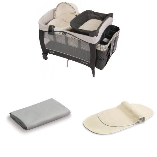 Graco Newborn Napper Elite, Vance + Matching Sheet, Gray + 2pk Changing Table Pad Covers, Cream by Graco