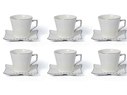 Fine Bone China Porcelain Coffee Espresso Set White whith Platinum Edge 2.8 Ounce, Set of 6 Espresso Cups and Saucers
