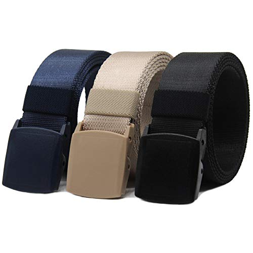 - Nylon Canvas Belt Hiking Outdoor Adjustable Belts Unisex Military Style Casual Army Outdoor Tactical Plastic Buckles Webbing for Men and Women 2 pack By ANDY GRADE (Black + Blue + Khaki)