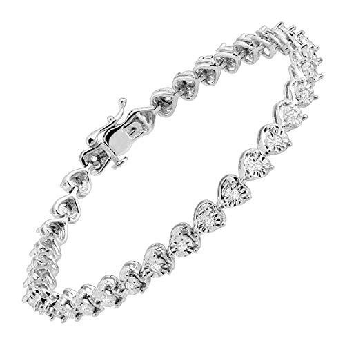1/2 ct Diamond Heart Tennis Bracelet in Sterling Silver