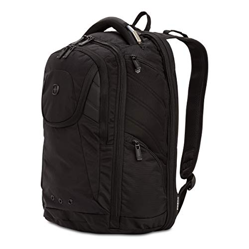 "Box Security Insulated - SwissGear 2762 ScanSmart Laptop Backpack. Abrasion-Resistant & Travel-Friendly Laptop Backpack (17.5"", Monochrome Black)."