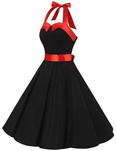 Solid 60s Vestidos Dressystar Retro Estampado Cuello Vintage Flores y Black Lunares 50s Corto Halter Rockabilly Fiesta Mujer 7wABZw