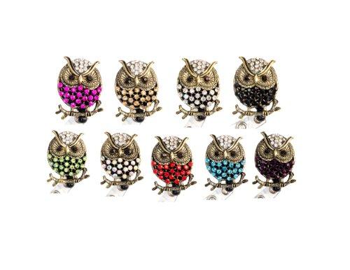 Rhinestone Owl Retractable Badge Reel/ Bling ID Badge Holder