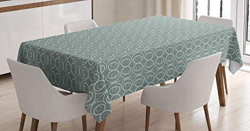 Ambesonne Retro Tablecloth, Medieval Authentic Style Curved Oval Floral Motifs, Dining Room Kitchen Rectangular Table Cover, 60 W X 84 L inches, Light Sage Green -