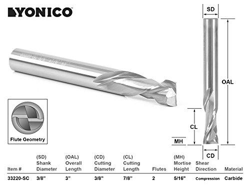 Length Compression Spiral Router Bit - Yonico 33220-SC CNC Router Bit 2 Flute Compression Cut with 3/8