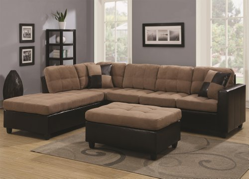 Coaster Home Furnishings 505675 Living Room Sofa, (Tan Sectional Sofa)