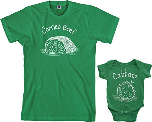 (Corned Beef & Cabbage Infant Bodysuit & Men's T-Shirt Matching Set (Baby: 12M, Kelly Green|Men's: 2XL, Kelly Green))