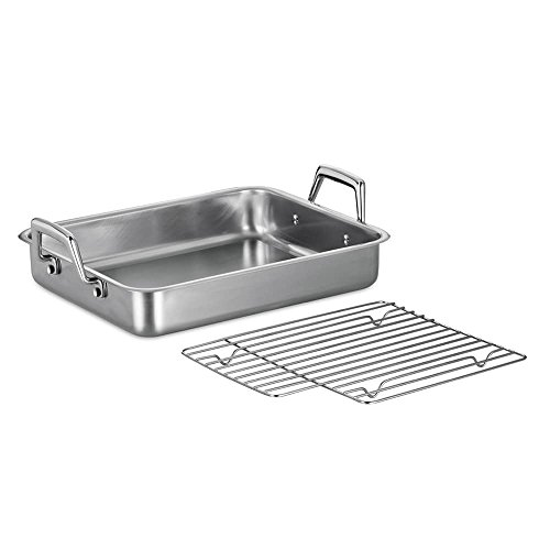 MD Group Roasting Pan Premium Stainless Steel 15-in Silver Oven Safe Kitchen Baking Cookware